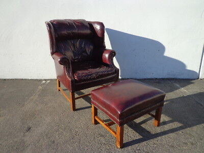Handsome Tufted Leather Wingback Chair Armchair Matching Ottoman Footrest Lounge