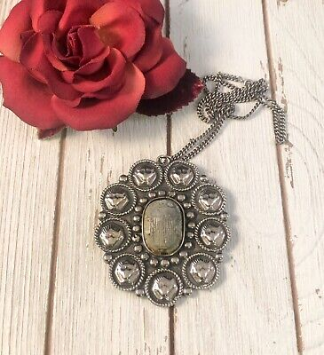 Antique Scarab Egyptian Revival Sterling Silver Pharaoh Warrior Necklace