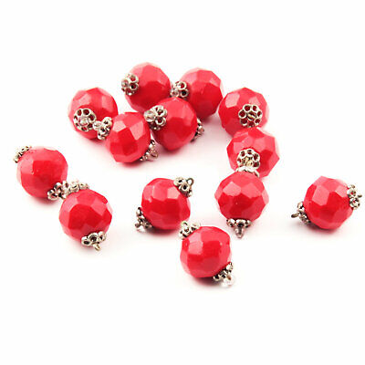 Czech Glass beads Lot (13) 13mm vintage Art Deco red hand faceted pendant beads