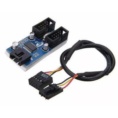 USB 2.0 9Pin Motherboard Male 1 to 2 Female Connector Port Header Adapter Cable