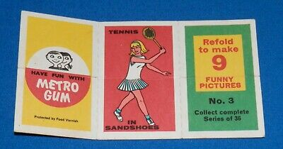 1964 Scanlens Crazy Cards #3 - Tennis, Dancer, Golfer