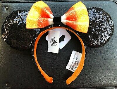 NWT Disney Parks 2019 Halloween Candy Corn Bow Minnie Mouse Ears Headband