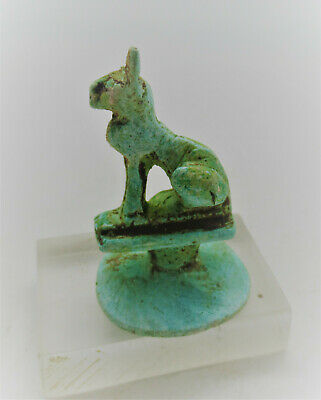 Superb Ancient Egyptian Glazed Faience Seal Bastet With Heiroglyphics