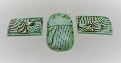 Circa 664-332Bc Ancient Egyptian Glazed Faience Winged Scarab Heiroglyphics