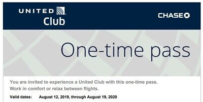 2 United Club One Time Passes, Expiration AUG 19 2020 - Email delivery