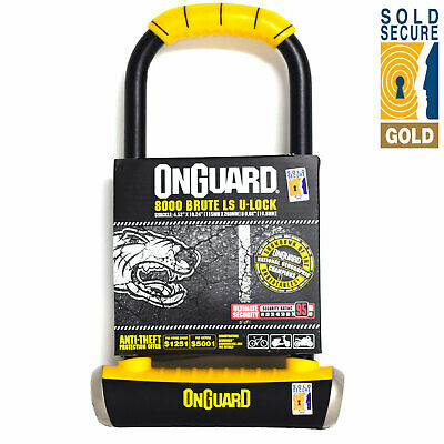 Onguard Brute LS 8000 Anti-Theft Motorcycle Scooter Bike Lock Gold Sold Secure
