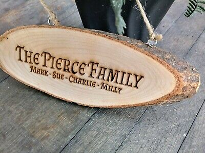 Personalised Family Plaque Laser Engraved Rustic Log Slice Hanging Door Sign