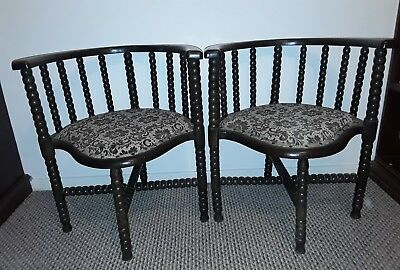 Pair of Antique Bobbin Turned Tub/Club Chairs Love Seat