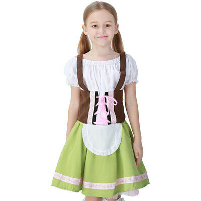 Kids Oktoberfest German Bavarian Beer Wench Costume Girls Skirts Cosplay Uniform
