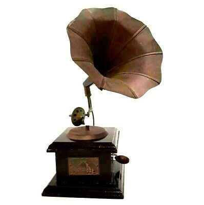 Vintage Antique Style Brass & Wood Gramophone Phonograph Collectible Home Decor