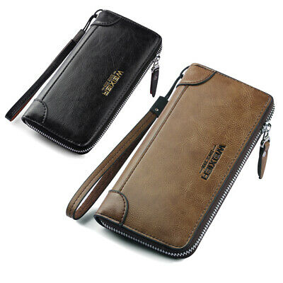 Clutch Long Wallet Mens Bag Anti-theft Purse PU Leather Business Wallet Pocket