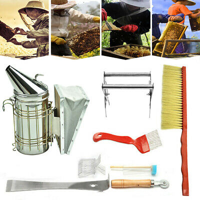 8pcs Beekeeping Stainless Steel Smoker Hive Tool and Bee Brush
