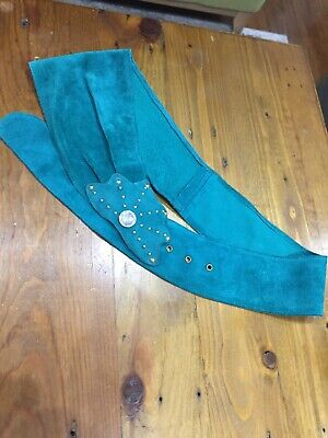teal green suede thick vintage 80s embellished belt. Elvis. Elton John