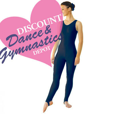 Size 3A Tappers & Pointers Sleeveless Plain Front Stirrup BLACK Catsuit 70% OFF