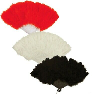 Feather Hand Fan Black Red White Burlesque Showgirl Hen Night Accessory