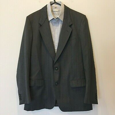 Yves Saint Laurent Mens Vintage Dark Grey Wool Blend Blazer Jacket Size 107cm