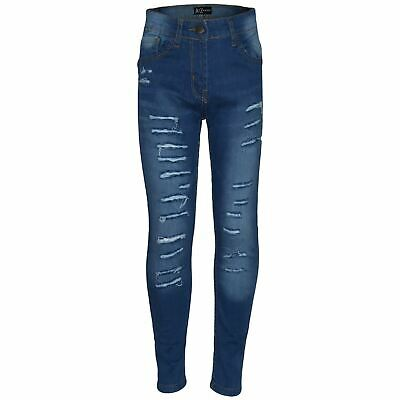 Kids Girls Stretchy Jeans Mid Blue Denim Ripped Faded Skinny Pants Jeggings 5-13
