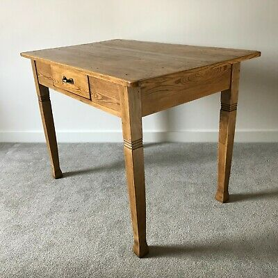 Elegant French Antique Pine Rustic Farmhouse Kitchen Table or Desk with Drawer