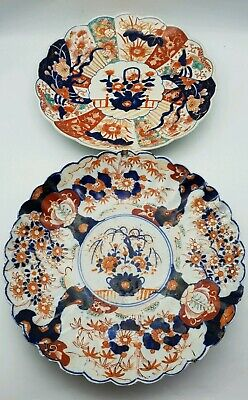 Antique Japanese Imari Plates Scalloped Edge Edo - Meiji Hand Painted Porcelain