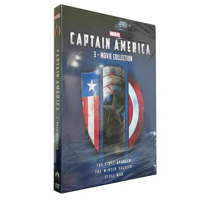Captain America 1, 2 & 3 (Dvd)3-Movie Collection Trilogy Box Set -New-