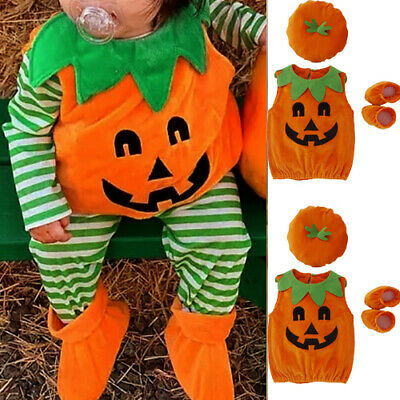 AU Baby Girls Boys Cute Halloween Pumpkin Costume Tops Shoes Hat Clothes Outfits