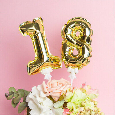 Supplies Kids  Birthday Cake Topper Gold Silver Inflatable Foil Number Balloon