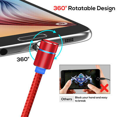 Red 360 L-Shaped Elbow Magnetic Charger 1m Micro USB Charging Cable for Android