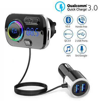 Wireless Bluetooth in Car Kit FM Transmitter Radio MP3 USB Charger Handsfree LED
