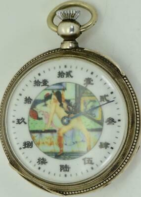 Rare antique Silver&Erotic enamel dial watch for Chinese market.NO RESERVE!