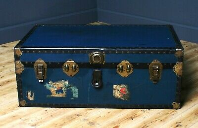 Attractive Large Vintage Metal Bound Chest Storage Shipping Trunk