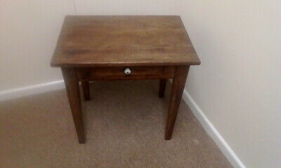 Antique Victorian Small Oak Table With Drawer Bedside Lamp Table