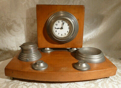 Vintage Desk Top Clock Tidy Standish Inkwell Holder Commerical Office Accessory