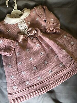 Baby Girl Spanish Knitted Dress Dusky Pink Ribbons Flowers Lace 0-3 3-6 6-9 Mths