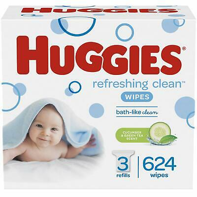 HUGGIES Refreshing Clean Scented Baby Wipes, Hypoallergenic, 3 Refill Packs