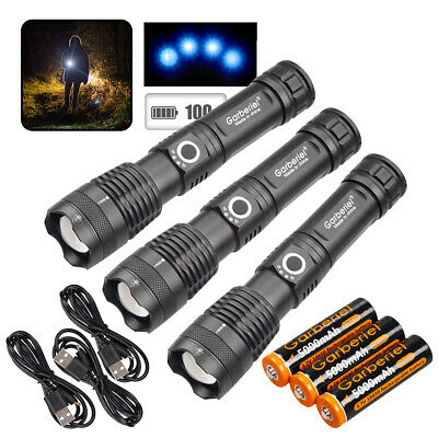 300000LM Zoomable 5 Modes XHP50 LED 18650 USB Rechargeable Flashlight Torch Lamp