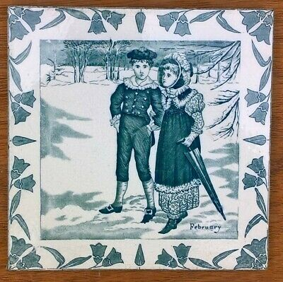 Wedgwood Months Calendar tile for February circa 1880 eight inch