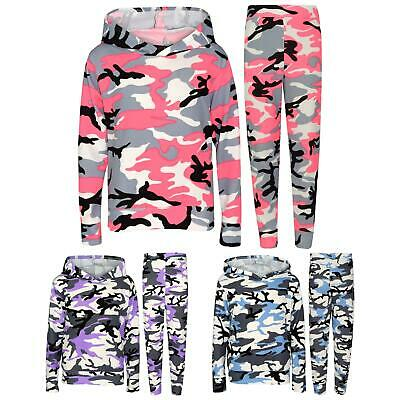 Kids Girls Tracksuit Camouflage Hooded Top Legging Loungewear Outfit Set 7-13 Yr