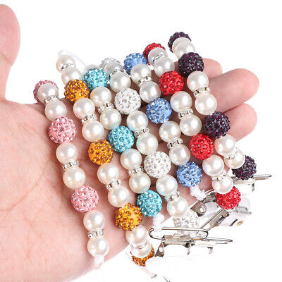1PC Crystal Baby Kids Plastic Beaded Pacifier Clip Teether Dummy Strap Chain FES
