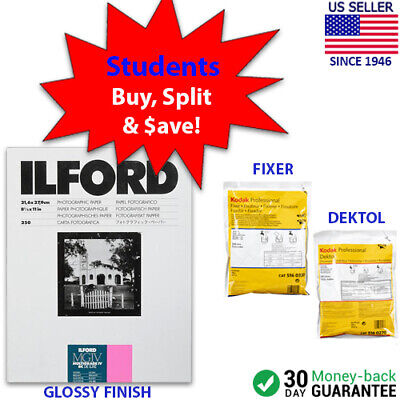 "STUDENT STARTER KIT Ilford MG IV RC DeLuxe Paper (Glossy, 8.5 x 11"", 250 Sheets)"
