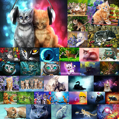 Cute Cat Animal Full Drill DIY 5D Diamond Painting Embroidery Cross Craft Home