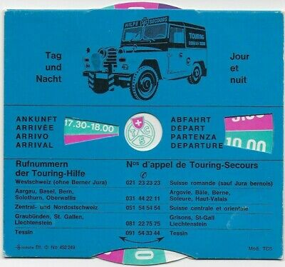 Parking Disc-Disque Stationnement~Touring Club Suisse-Switzerland~Land-Rover