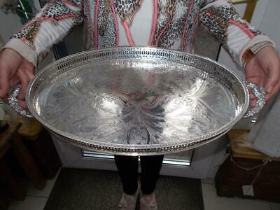 Large Silver Plated Gallery Tray Grapes Clam Shell Handles Non Scratch Feet