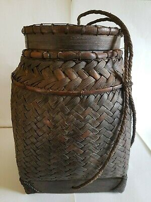 Antique Southeast Asian Sticky Rice Basket Large Woven Storage Display