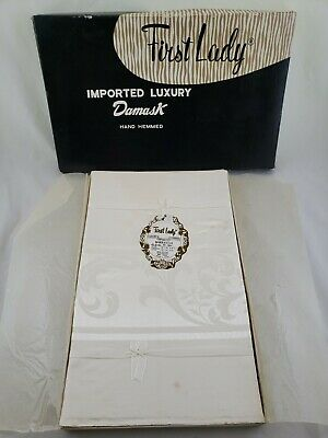 "Vintage First Lady Japan Cream White Damask Tablecloth & 8 Napkins 64x84"" in Box"