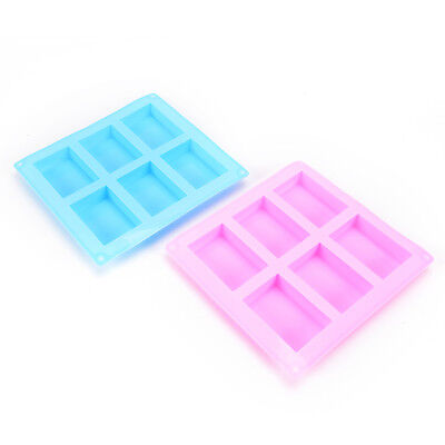 6-Cavity Silicone Rectangle Soap Cake ice Mold Mould Tray For Homemade Craft FES