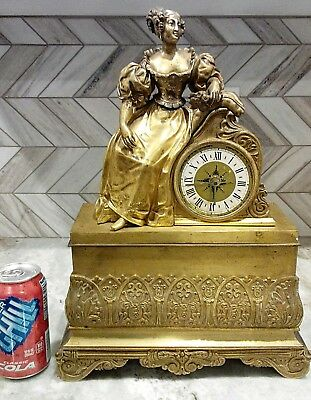 Tall Vintage Antique French Figurine Bronze Gilt Mantel Mantle Clock Non-working