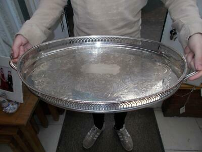 Large Silver Plated Sheffield Made Gallery Tray Clam Shell Handles On Bun Feet