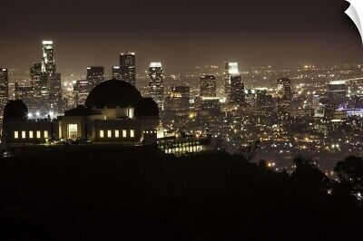"""Griffith Park Observatory and downtown LA at night"" Wall Decal"