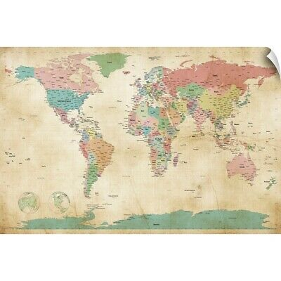 "Wall Decal ""Political Map of the World Map, Antique"""