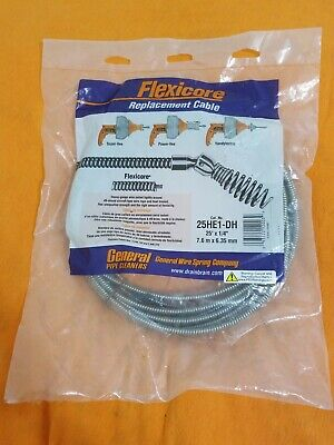 """GENERAL PIPE CLEANERS 25'x1/4"""" FLEXICORE REPLACEMENT CABLE # 25HE1-DH BRAND NEW."""
